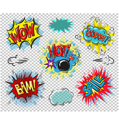 collection of seven multicolored comic sound vector image