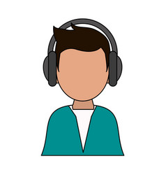 color image cartoon man faceless with headphones vector image
