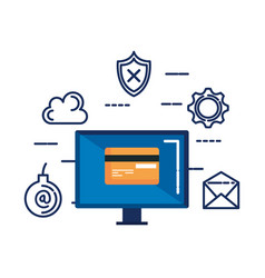 Computer with credit card and security icons vector