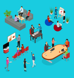 coworking people and equipment 3d icons set vector image