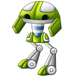 Cute robot green cartoon isolated on white backgro vector