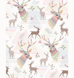 deers scandinavian pattern vector image