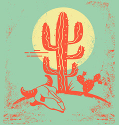desert landscape with cactuses and cow skull vector image