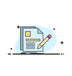 document file page pen resume flat color icon vector image