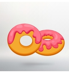 Donut icon with pink glaze with long shadow vector
