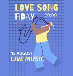evening live jazz music event advert flat poster vector image