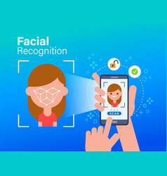 face id facial recognition biometric vector image