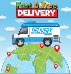 Fast and free delivery logo with delivery truck vector