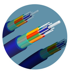 Fiber optics cable technology set in circle vector