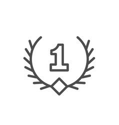 First place line icon and laurel wreath symbol vector