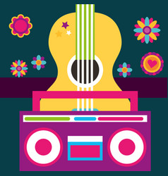 Free spirit guitar and radio retro vintage flowers vector