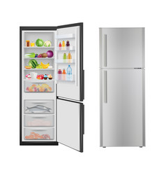 Fridge with food opening realistic refrigerator vector