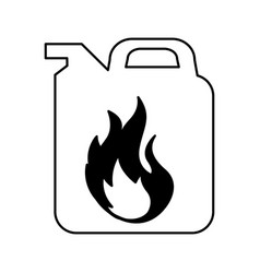 Gallon with flame isolated icon vector