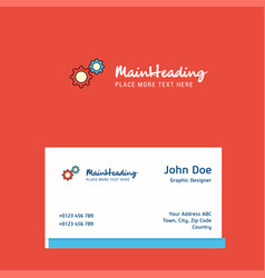 gear setting logo design with business card vector image