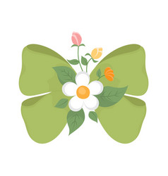 Green bow with cute flowers vector