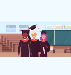 Group of mix race students in gown and caps vector