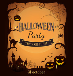 Halloween party trick or treat promotional poster vector
