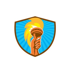 Hand Holding Burning Flaming Torch Shield Retro vector image