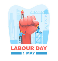 happy labour day first may with clenched fist vector image