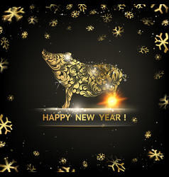 happy new year card gold template over black vector image