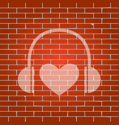 headphones with heart whitish icon on vector image vector image