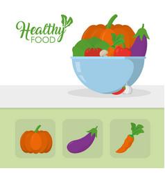 Healthy food vegetables concept vector
