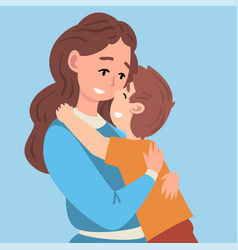 Hugs mother and son vector