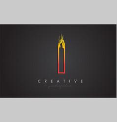 i letter design with golden outline and grunge vector image