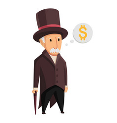 image a funny old man capitalist in a black vector image