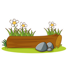 Isolated picture wooden log vector