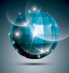 Jewel dimensional blue sparkling mirror ball vector