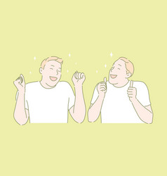 Joyful mood happy person winners gestures vector