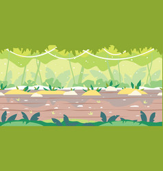 jumgle forest game background flat landscape vector image