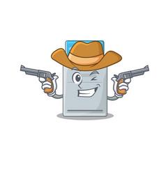 Key card dressed as a cowboy having guns vector