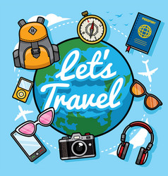 lets travel with cartoon style vector image