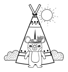 line ethnic bear with camp and bushes plants vector image