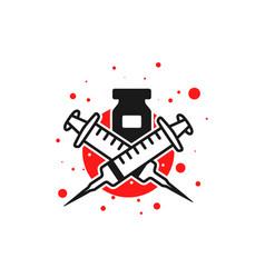 logo design virus vaccine injection vector image