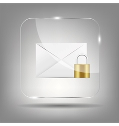 Mail Icon in Glass Button vector