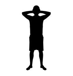 man covering his ears silhouette front view vector image