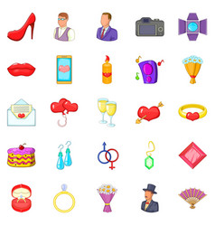 Marriage icons set cartoon style vector