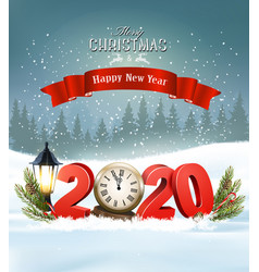 Merry christmas background with 2020 and clock vector