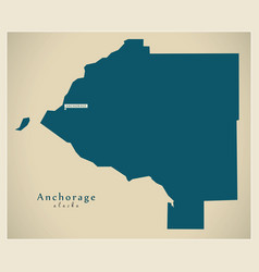 Modern map - anchorage alaska county usa vector