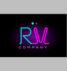 Neon lights alphabet rv r v letter logo icon vector
