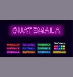 Neon name of guatemala city vector
