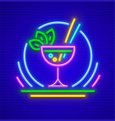 neon sign cocktail in glass vector image