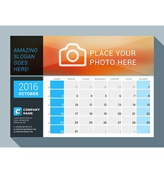 October 2016 design print calendar template for vector