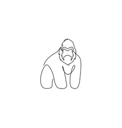 One continuous line drawing gorilla vector