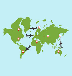 plane travel aroun the world vector image