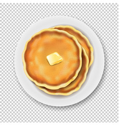 Plate with pancake isolated transparent background vector