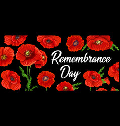 Remembrance day and anzac poppy flowers memorial vector